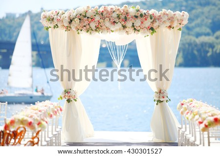 Wedding ceremony stage at the Dnieper's beach