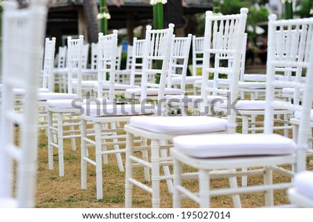 Wedding chairs are set up for the ceremony - stock photo