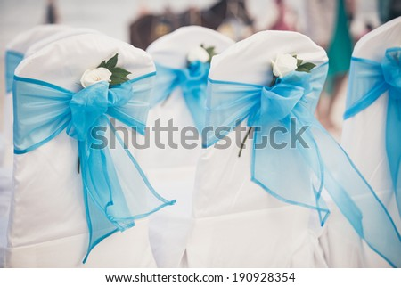 Wedding chairs blue color - stock photo
