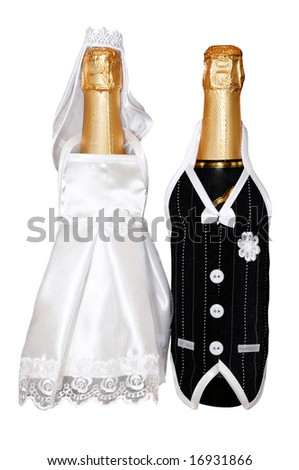 wedding champagne bottles dressed as bride and groom (isolated on white background)