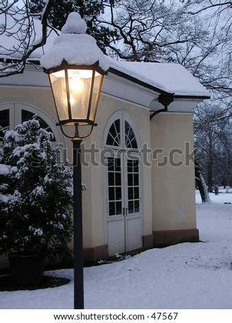 wedding chapel in the snow in germany - stock photo