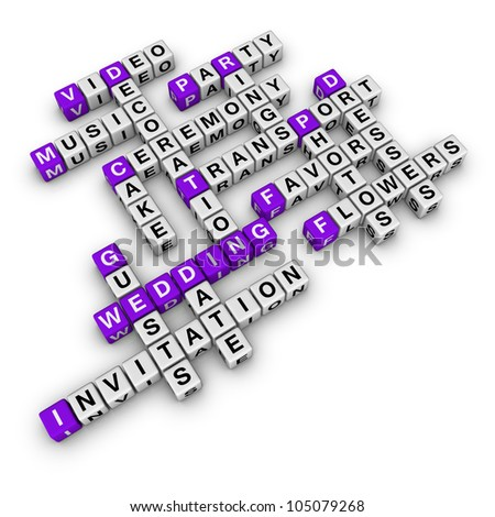 wedding checklist (blue-white cubes crossword series) - stock photo
