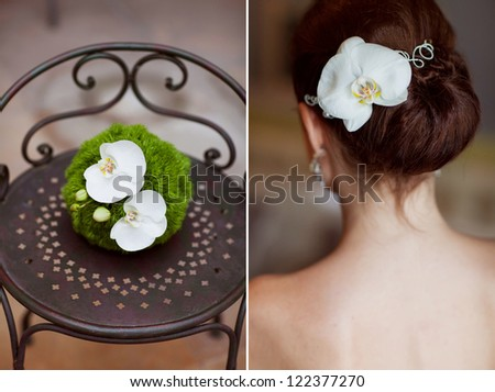 wedding collage, bouquet  in the hands of the bride and a corset - stock photo