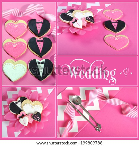 Wedding collage of four pink, black and white bride and groom heart shape cookies on modern table setting with sample text. - stock photo