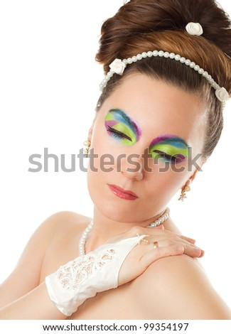 Wedding concept  Beautiful woman bride with creative colored make-up on white background