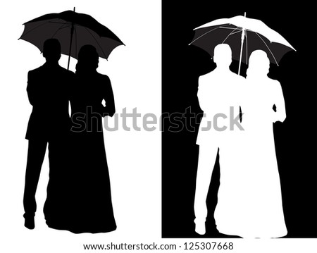 Couple Silhouette Umbrella Stock Images Royalty Free