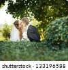 wedding couple -  bride and groom standing in a park outdoors holding hands and smiling - stock photo