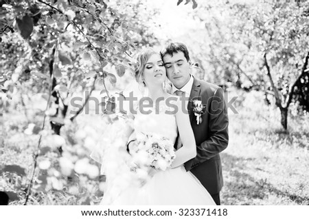 wedding couple embrace at the garden - stock photo
