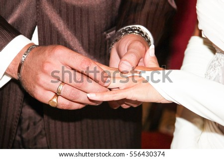 wedding couple exchange wedding rings during marriage day