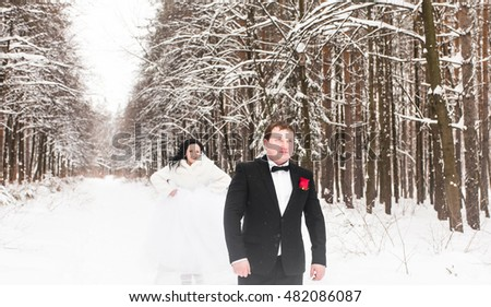 Wedding couple in winter