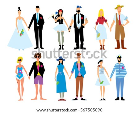 Wedding couple isolated raster illustration. Bride and groom. Woman and man love. Marriage concept. Romance people. Wife and husband.