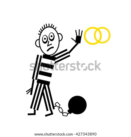 Wedding Couple pictogram man with shackle and iron ball - stock photo