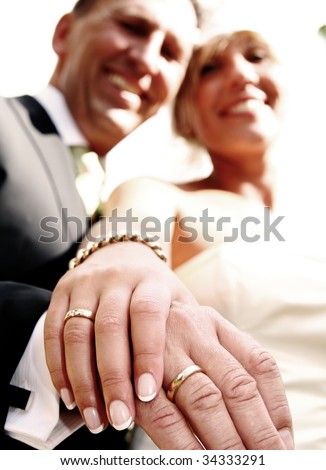 Wedding couple portrait. groom and bride marriage celebration. husband in suit and wife in wedding dress - stock photo