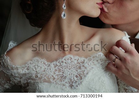 wedding couple, sensual bride and happy groom together