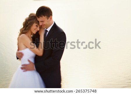wedding couple standing on the beach on a background of the sea - stock photo