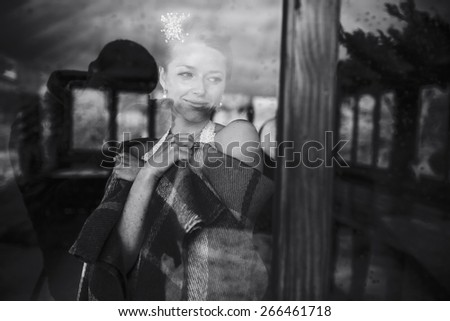 Wedding couple together close to each other at the window