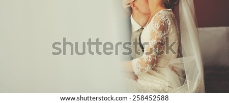 Wedding couple together in hotel room.  - stock photo
