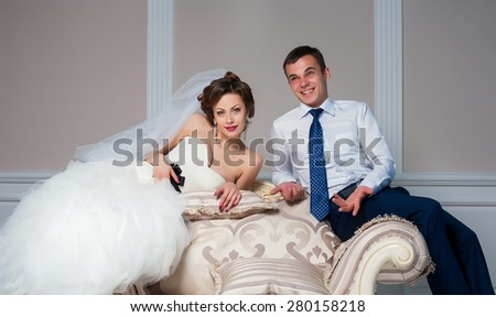wedding couple together interior