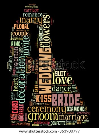 Wedding couple, word cloud concept on black background.