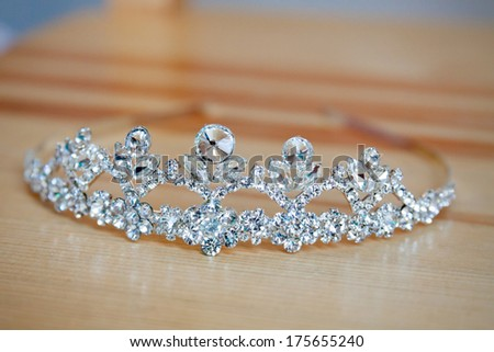 Wedding crown on desk