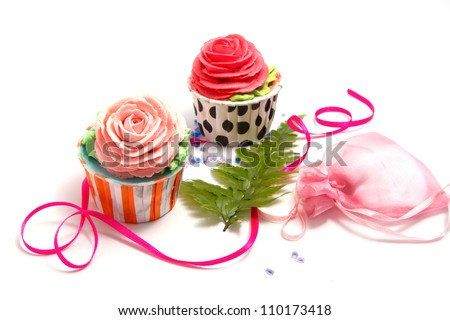 Wedding cupcakes,birth day cup cake on white back ground - stock photo