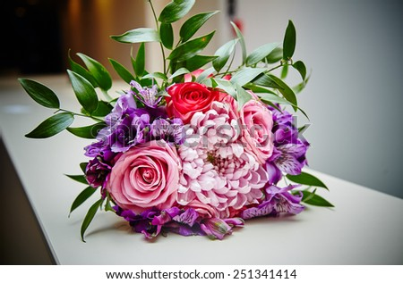 Wedding day. Beautiful white wedding bouquet. Valentines day gift. Love. - stock photo