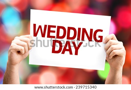 Wedding Day card with colorful background with defocused lights - stock photo