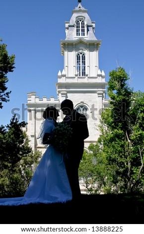 Wedding Day Couple - stock photo