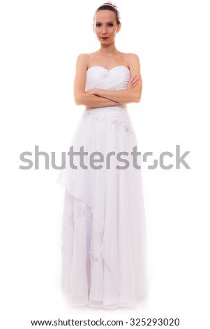 Wedding day. Full length young attractive romantic bride in white gown isolated on white background