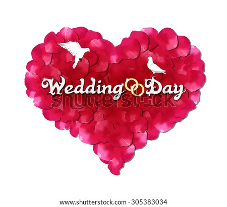 Wedding day, the heart of rose petals, doves and rings - stock photo