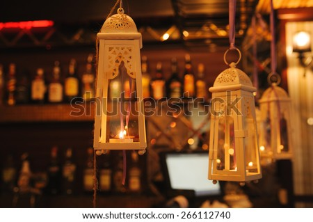 wedding decor candle at restaurant with all beauty and flowers - stock photo