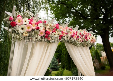 Wedding decor decorations arch fresh flowers stock photo download wedding decor decorations of arch with fresh flowers ideal for wedding junglespirit Gallery