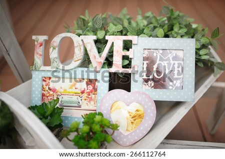 wedding decor love at restaurant with all beauty and flowers - stock photo