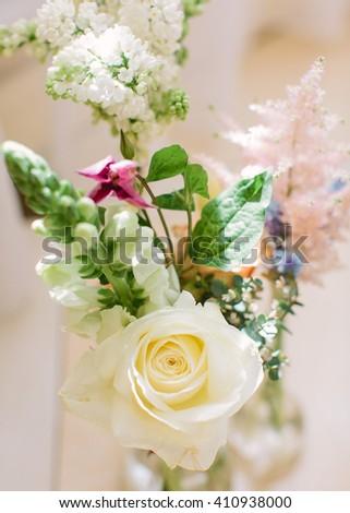 Wedding decor. Wedding interior. Festive decor. Bouquet from spring flowers. Wedding bouquet. Pastel tone. - stock photo