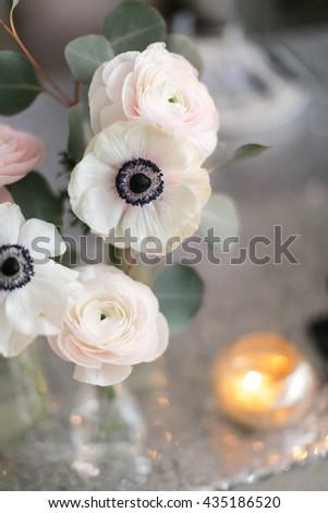 Wedding decor. Wedding interior. Festive decor. Bouquet from spring flowers. Wedding bouquet. Pastel tone. Wedding flowers. Bright wedding decor. Beautiful wedding decorations - stock photo