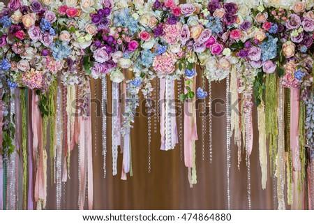 Wedding Decoration Arch Restaurant Close Background Stock Photo