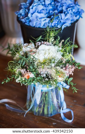 wedding decoration, blue hydrangea flowers, festive dinner,