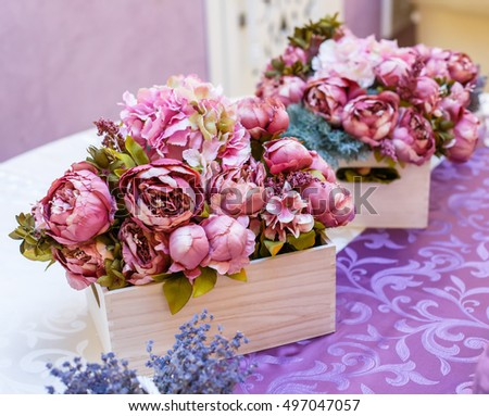 Wedding decoration, bouquets of flowers, hand made