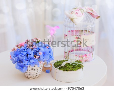 Wedding decoration, bouquets of flowers with bird cage , hand made