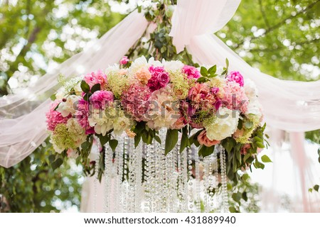 Wedding decorations stock images royalty free images vectors wedding decoration ceremony chandelier in the arch of flowers junglespirit Images