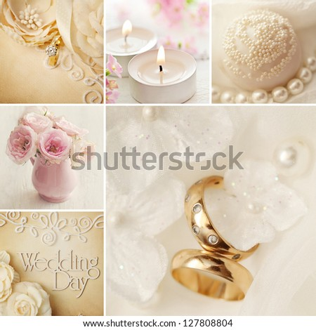 wedding decoration collage with wedding rings - stock photo