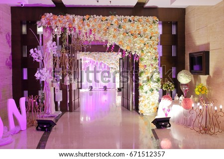 Wedding ceremony stock images royalty free images vectors wedding decoration element lights entrance gate shower drinks flowers couple junglespirit Image collections