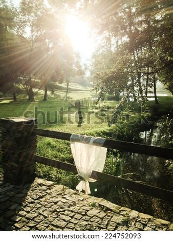 Wedding decoration in the countryside with sunrise