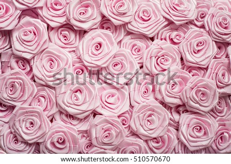 Light Pink Flowers. Satin Ribbon Pink Roses Pattern