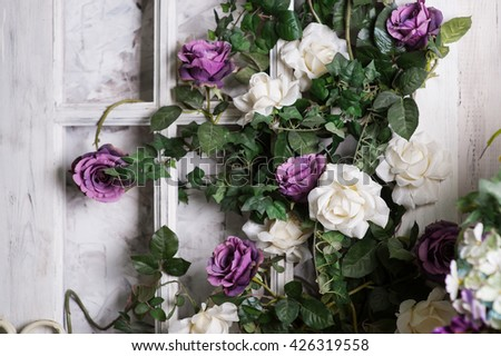 Wedding decoration of flowers for the ceremony in restaurant