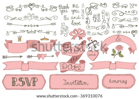 Wedding decoration set doodles borderlove decor elements stock wedding decoration setodles borderlove decor elements setr design templates junglespirit Image collections