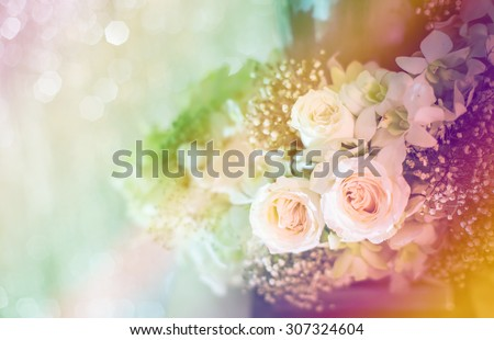 Wedding decoration. Tenderest flower bouquet for brides, close up - stock photo