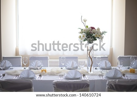 Wedding decoration with white flowers - stock photo