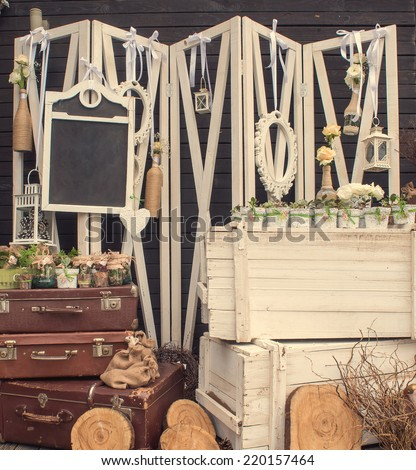 Wedding decoration with wooden chalkboard - stock photo
