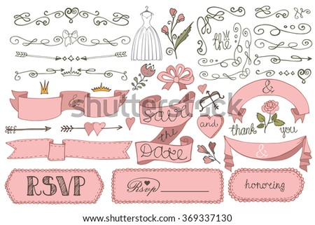 Wedding decorations.Doodles swirl border,love decor elements set.Vintage design template,invitation,save date,RSVP.Hand drawing style.Wedding,Valentine ,bridal shower decor elements set,Illustration - stock photo